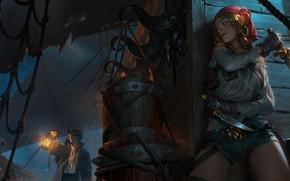 Picture girl, night, ship, pirates, deck, in ambush, time, Bilgewater, Legends of Runeterra