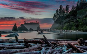 Picture sunset, USA, Washington, Ruby beach, Olympic national Park