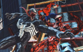 Picture Art, Marvel, Comics, Venom, Carnage, Spider Man, Fight