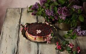 Picture berries, bouquet, pie, vase, lilac