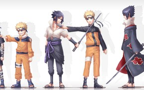 Picture anime, art, Naruto, Sasuke Uchiha, Naruto Uzumaki, Different