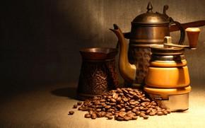 Picture light, coffee, kettle, twilight, grain, bokeh, coffee grinder