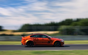 Picture orange, speed, Jaguar, profile, 2017, XE SV Project 8