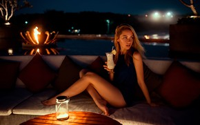 Picture night, lights, sexy, pose, table, model, portrait, pillow, makeup, figure, dress, hairstyle, cocktail, brown hair, …