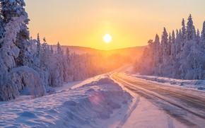 Picture winter, road, forest, the sun, snow, nature, morning, ate, the snow, winter, Lapland