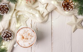 Picture New Year, Christmas, Christmas, wood, cup, New Year, coffee, decoration, a Cup of coffee, Merry, …