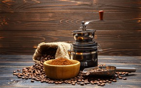 Picture coffee, coffee beans, coffee grinder, fried