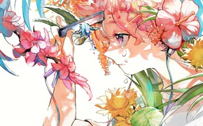 Picture girl, flowers, blade, tears