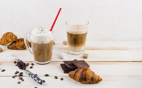 Picture coffee, Breakfast, Croissant, whipped cream