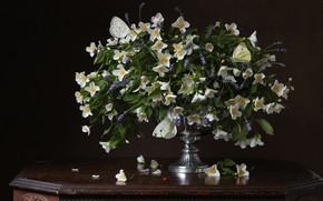 Picture flowers, the dark background, bouquet, still life