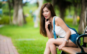 Picture girl, Park, Asian, cutie, bench, bokeh