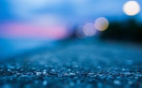 Picture beach, water, lights, earth, shore, the evening, abstract, blue, macro, blur, bokeh, concrete, ground