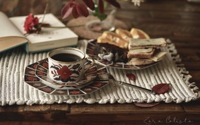 Picture coffee, Cup, book, sandwich