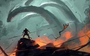 Picture Figure, Warrior, Fantasy, Art, Hydra, Concept Art, Knight, Creatures, Hydra, Dominik Mayer, by Dominik Mayer, …