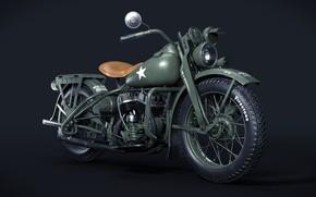 Picture USA, The second World war, Harley Davidson WLA 1942, Армейский мотоцикл