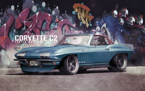 Picture Auto, Corvette, Retro, Machine, Graffiti, Transport & Vehicles, Javier Oquendo, by Javier Oquendo, Corvette C2 …