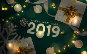 Picture holiday, balls, candles, figures, gifts, New year, decor, 2019