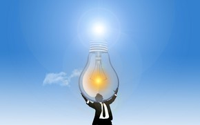 Picture light bulb, light, people, solar energy