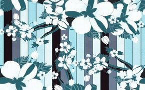 Picture line, strips, flowers, background, blue, pattern, background