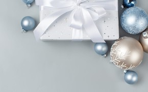 Picture winter, balls, holiday, box, gift, balls, Christmas, tape, New year, white, bow, light background, Christmas …