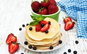 Picture strawberry, plate, mint, pancakes, zavtrak, Olena Rudo