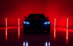 Picture light, red, background, lights, BMW, front, 3-series, universal, 3P, 2020, G21, M340i xDrive Touring