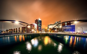 Picture night, lights, river, building, home, Germany, lights, bridges, promenade, Hamburg
