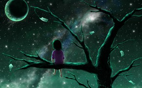 Picture night, loneliness, hopelessness, the full moon, baby, longing, on the branch, the milky Way, gnarled …