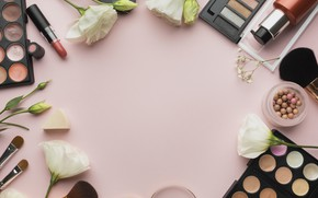 Picture flowers, lipstick, shadows, brush, cosmetics, powder
