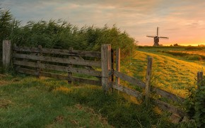 Picture field, the fence, mill