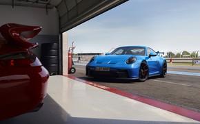Picture garage, 911, Porsche, track, GT3, Michelin, 2021, Swan Neck, Track Screen, PDK