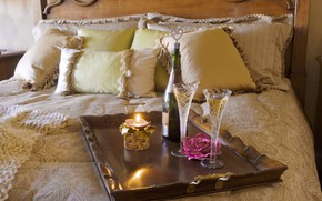 Picture flower, fire, rose, bottle, bed, candle, pillow, glasses, bed, champagne, bedroom, tray