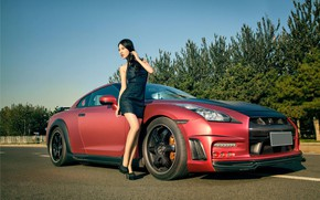 Picture auto, look, Girls, Nissan, Asian, beautiful girl, posing on the car