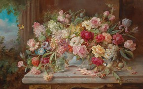 Picture flowers, oil, still life, Hans Zatzka, «Still Life with Flowers»