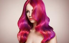 Picture look, girl, face, hair, portrait, pink, Oleg Gekman