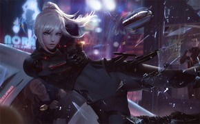 Picture girl, gun, fantasy, rain, weapon, blue eyes, ponytail, artist, blonde, digital art, bullet, artwork, crash, …