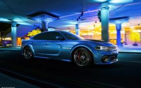 Picture Auto, Blue, Machine, Dodge, Car, Car, Render, Dodge Charger, Hellcat, Rendering, SRT, Blue color, Dodge …