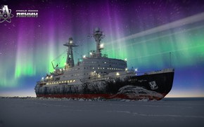 Wallpaper Winter, Night, Snow, Ice, Icebreaker, The ship, Polar Lights, The Lord Of The Arctic, Denis ...