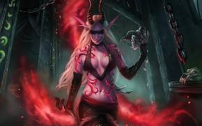 Picture girl, art, WOW, elf, demon hunter, demon hunter, World Of Warcraft