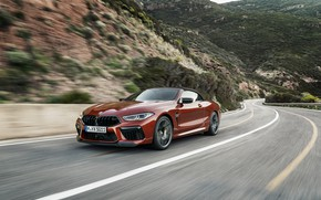 Picture road, mountains, speed, BMW, convertible, 2019, BMW M8, M8, F91, M8 Competition Convertible, M8 Convertible