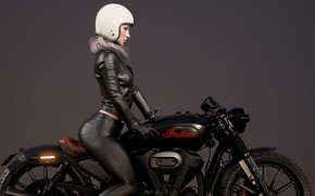Picture render, women, digital art, sunglasses, pearls, jacket, CGI, biker, Seungmin Kim