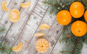 Picture decoration, New Year, Christmas, Christmas, wood, winter, fruit, New Year, tangerines, decoration, tangerine, Merry, fir …