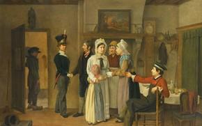 Picture oil, picture, 1828, genre, Charles van Beveren (belgium), Farewell soldier, Charles van Beveren
