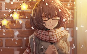 Picture girl, scarf, glasses, Beyond