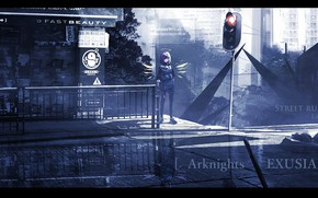 Picture girl, the city, Exusia, fantstica, ArKnights