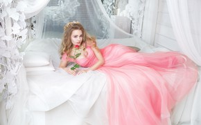 Picture look, girl, pose, rose, bed, dress, beautiful, Galaev Eugene