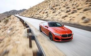 Picture movement, coupe, BMW, 2018, 8-Series, 2019, dark orange, M850i xDrive, Eight, G15