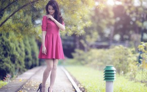 Picture tree, track, Asian, long hair, long hair, tree, asian, path, high heels, beautiful brunette, slender …