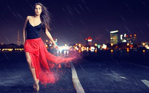 Picture road, look, girl, night, the city, pose, rain, skirt, brunette, Pointe shoes, Let Behnke
