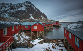 Picture rocks, home, Norway, the village, The Lofoten Islands
